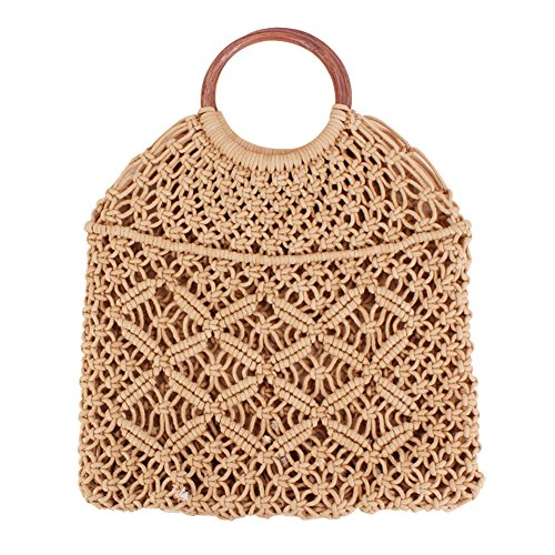 Lady Everyday Travel Shoulder and Use Handmade Bag for Straw Beach Bag Rattan Handbag Qinlee White Handle brown Straw Knitted Retro Square Brown Fxv6zwaqn