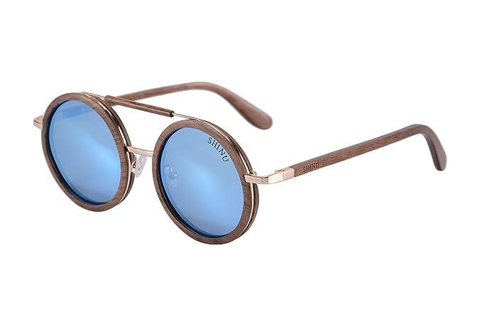 SHINU Gafas de Sol Polarizadas Hechos a Mano Vidrios de Madera Gafas de Madera del Redondas