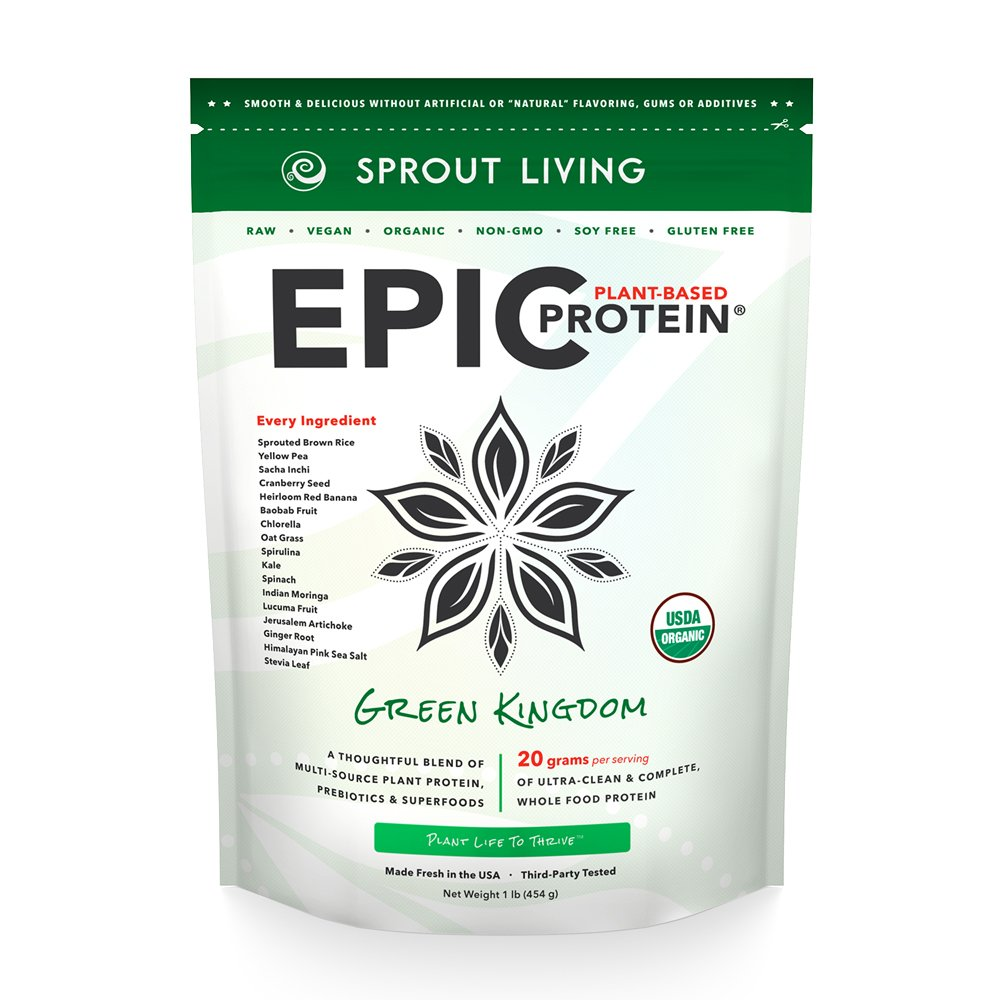 Sprout Living Epic Protein Powder, Green Kingdom Flavor, Organic Plant Protein, Gluten Free, No Additives, 20 Grams Clean Vegan Protein (1 pound,14 servings)