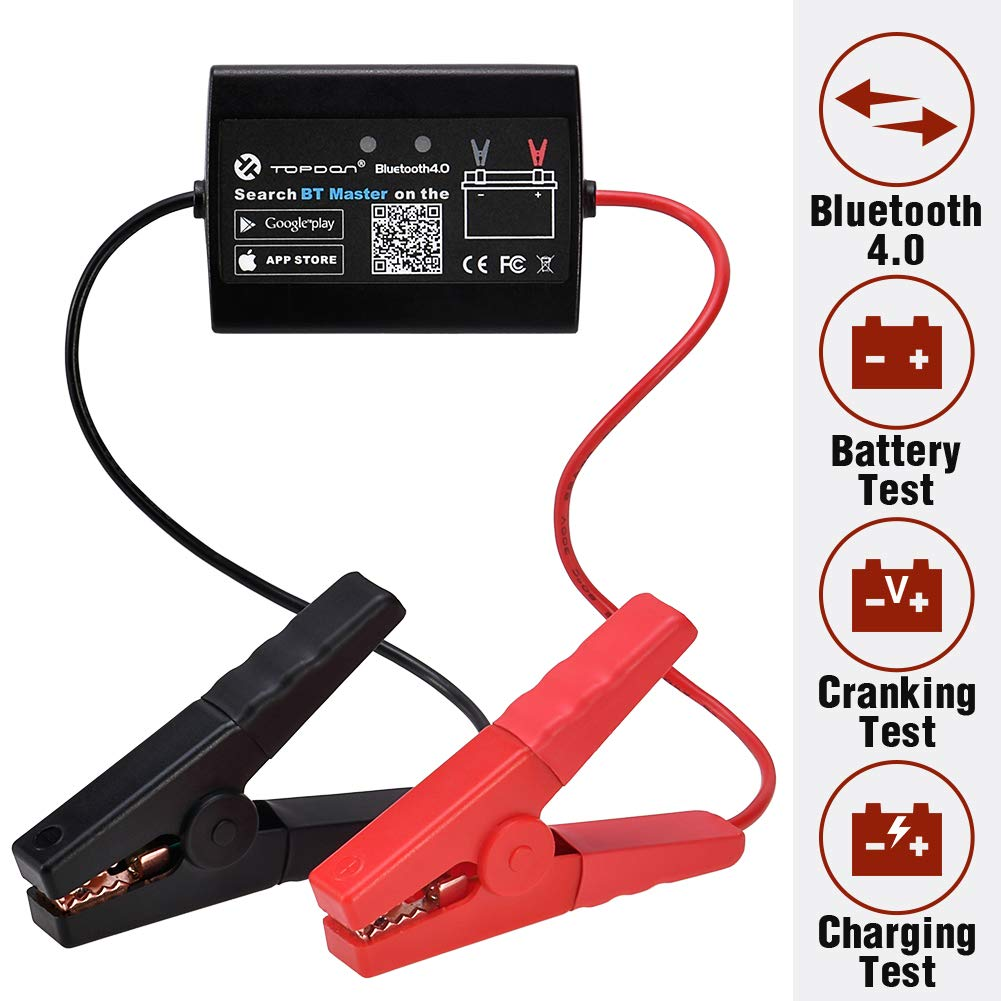 Car Battery Tester TOPDON BT Master Bluetooth 4.0 Wireless Battery Monitor 12V Cranking Test Charging Test Timing Test, Compatible with Android & iOS Devices, for Car Motorcycle Heavy Duty Truck