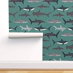 Peel-and-Stick Removable Wallpaper - Shark Attack Sharks Boys Men Ocean by Andrea Lauren - 24in x 72in Woven Textured Peel-and-Stick Removable Wallpaper Roll