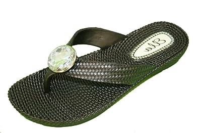 662a564de9b7 Ladies Flat Wedge Toe Post Diamante Jewell Flower Summer Beach Flip Flops  Sandals (3)