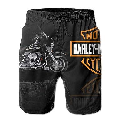 7c38462c3b Amazon.com: REBELN Men's Harley Davidson Logo Mens Summer Swim Trunks Quick  Dry Funny Beach Board Shorts with Mesh Lining: Clothing