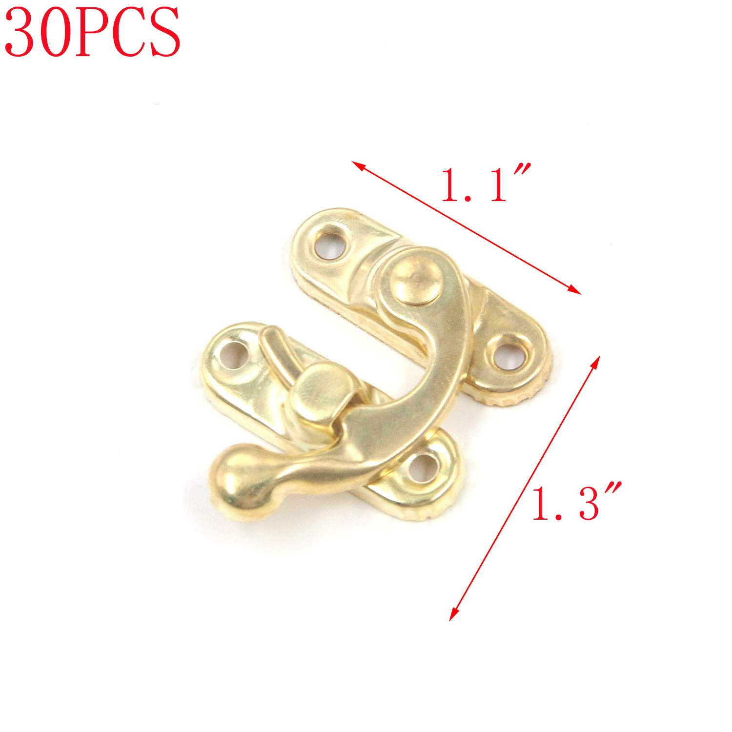 MTMTOOL Iron Swing Arm Lock Clasp Right Latch 30Pcs Gold Decorative Box Latch Right Latch Hook Hasp with Screws for Jewelry Wood Box Case Chest Gift Box