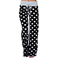 c47c89098e7 AMiERY Women s Comfy Casual Pajama Pants Floral Print Drawstring Palazzo Lounge  Pants Wide Leg