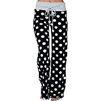 da3234aa5ee7d AMiERY Women s Comfy Casual Pajama Pants Floral Print Drawstring Palazzo  Lounge Pants Wide Leg