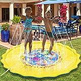 Splash Play Mat & Sprinkler pad, Kids Outdoor Party Sprinkler Toys, Toddler Water Toy Fun for 1 2 3 4 5 6 Year Old Baby Boy Girl Children (Yellow, 68'' Size)