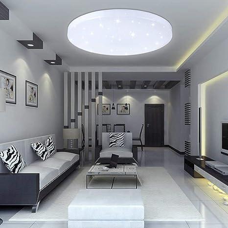 VINGO 16W LED Deckenbeleuchtung rund Deckenlampe Starlight Effekt schön  Wohnraum Wohnzimmer Lampe Weiß, Kunststoff,