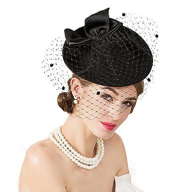 37ee1167eb8 Krastal Womens Fascinator Vintage Black Wool Pillbox Hat with Veil British  Lady Headband