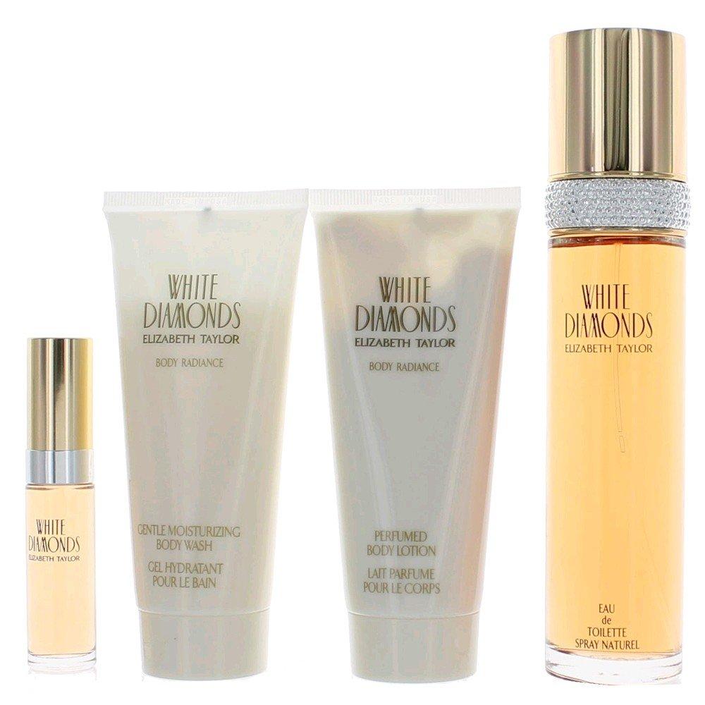 White Diamonds by Elizabeth Taylor for Women - 4 Pc Gift Set 3.3oz EDT Spray, 3.3oz Gentle Moisturizing Body Wash, 3.3oz Perfumed Body Lotion, 10ml EDT Spray by Elizabeth Taylor