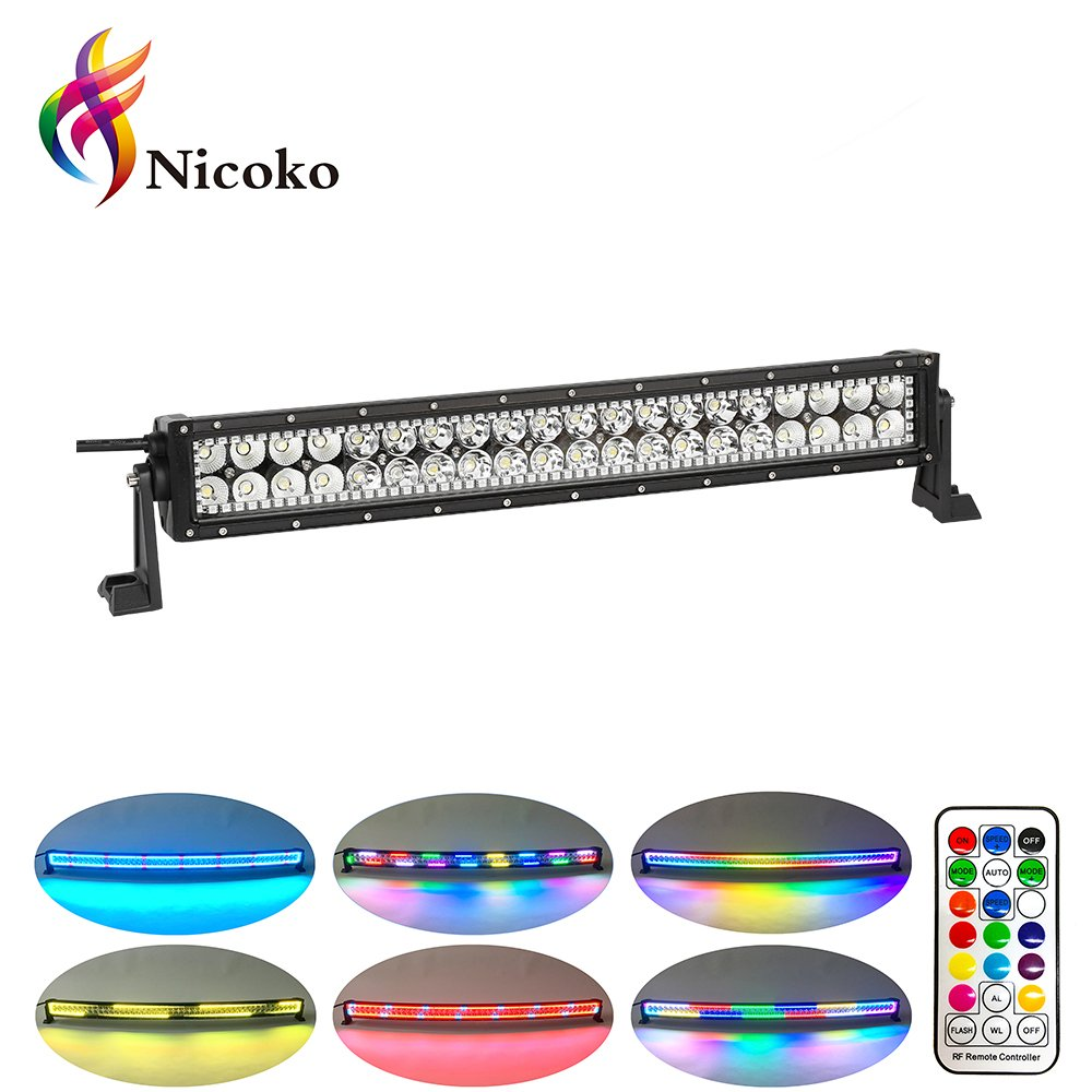 Multicolor Halo Lights Waterproof Wiring Harness Nicoko Offroad Driving 120w 20 22inch Straight Led Light Bars Rgb Ring