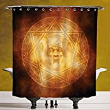 Decorative Shower Curtain 3.0 by SCOCICI [ Horror House Decor,Demon Trap Symbol Logo Ceremony Creepy Ritual Fantasy Paranormal Design,Orange ] Fabric Bathroom Decor Set with Hooks