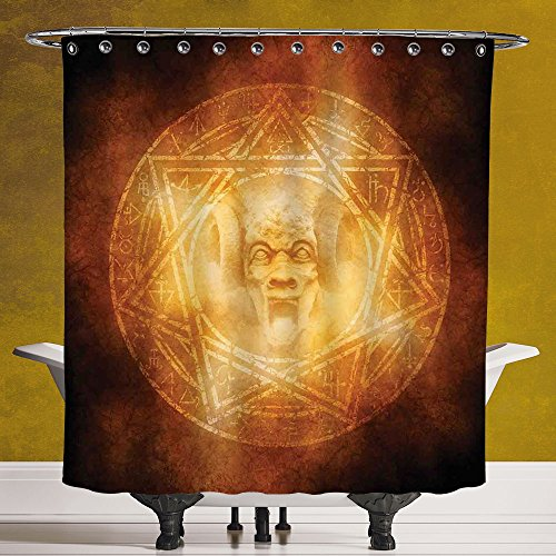 SCOCICI Decorative Shower Curtain 3.0 by [Horror House Decor,Demon Trap Symbol Logo Ceremony Creepy Ritual Fantasy Paranormal Design,Orange ] Fabric Bathroom Decor Set with Hooks by SCOCICI