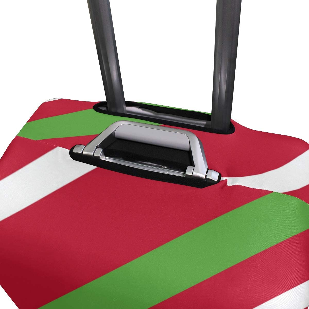 Cute 3D Merry Christmas Stripe Pattern Luggage Protector Travel Luggage Cover Trolley Case Protective Cover Fits 18-32 Inch