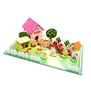 MagiDeal Casa Bambole Miniatura Kit Fai da Te Ornamento Decorazione Scrivania Regalo Natale Legno - Fattoria