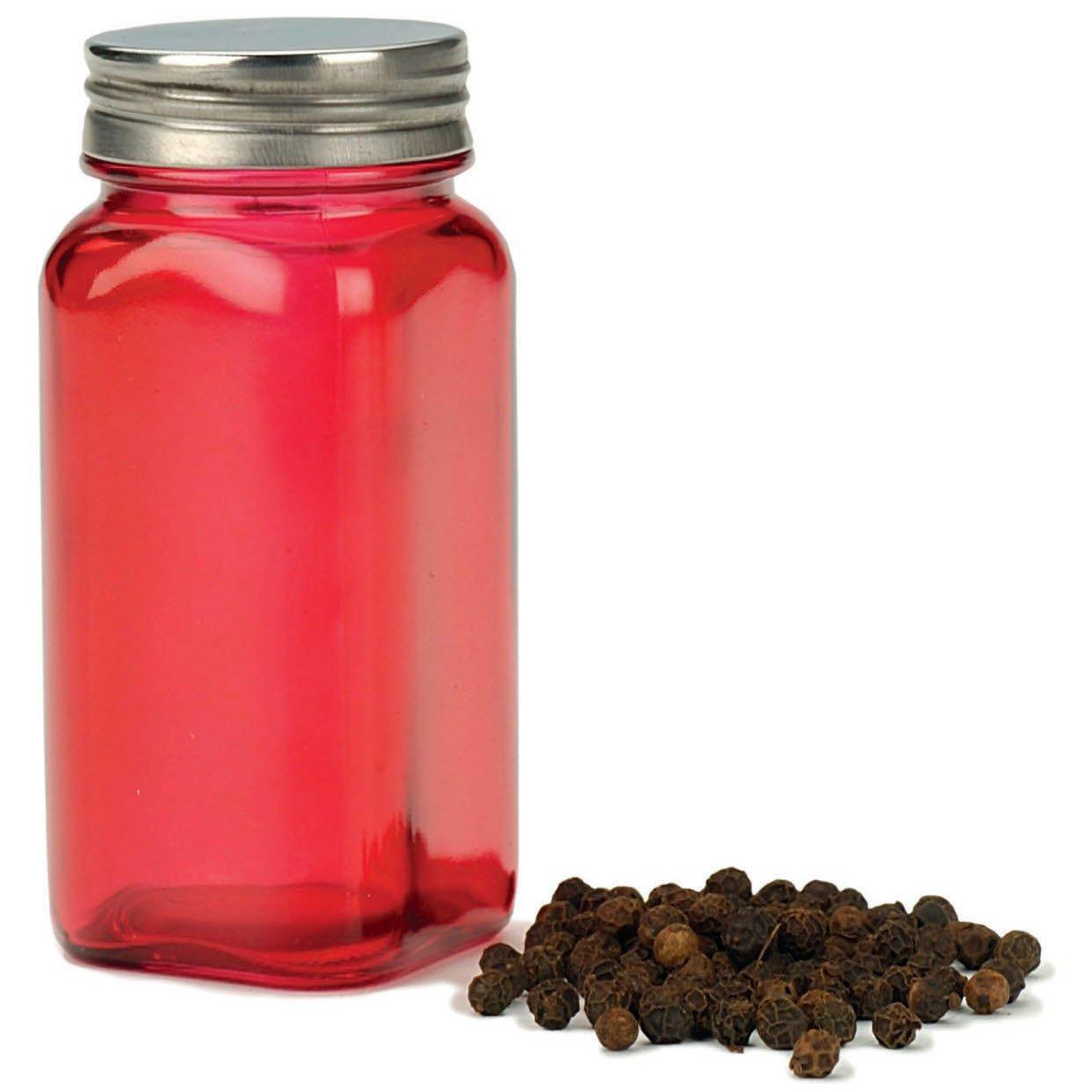 RSVP Red Glass Square Spice Jar, Set of 6