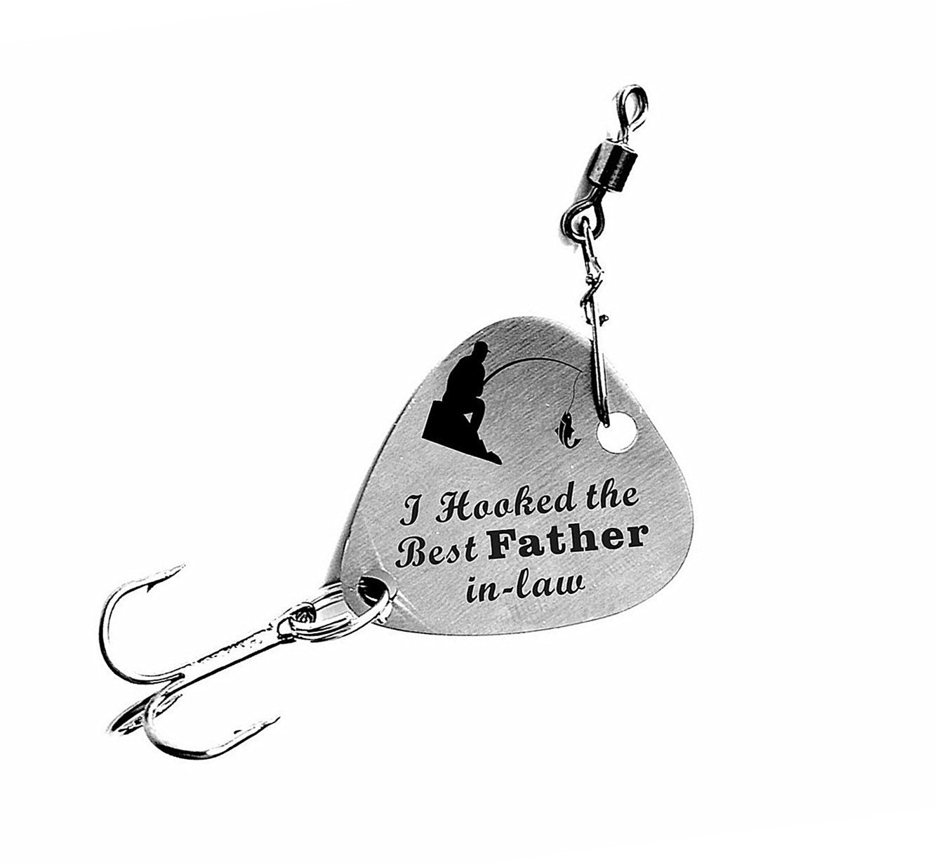 "Father in Law Gift ""I Hooked the Best Father in-law"" Stainless steel Fishing Lure Father's Day Gift"