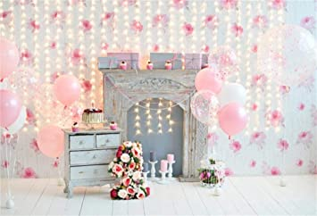 OFILA 7x5ft Vinyl Photography Backdrop For Baby Girl 1st Birthday Cake Smash Balloons Flowers Gifts Candles