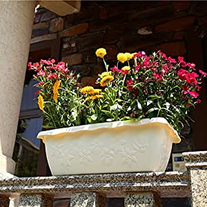 Sungmor 2-Pack High Quality Flower Carving Style Garden Rectangle Planter,Indoor & Outdoor Plants Planting Pot Large Flowerpot,54.5x24.5x18cm