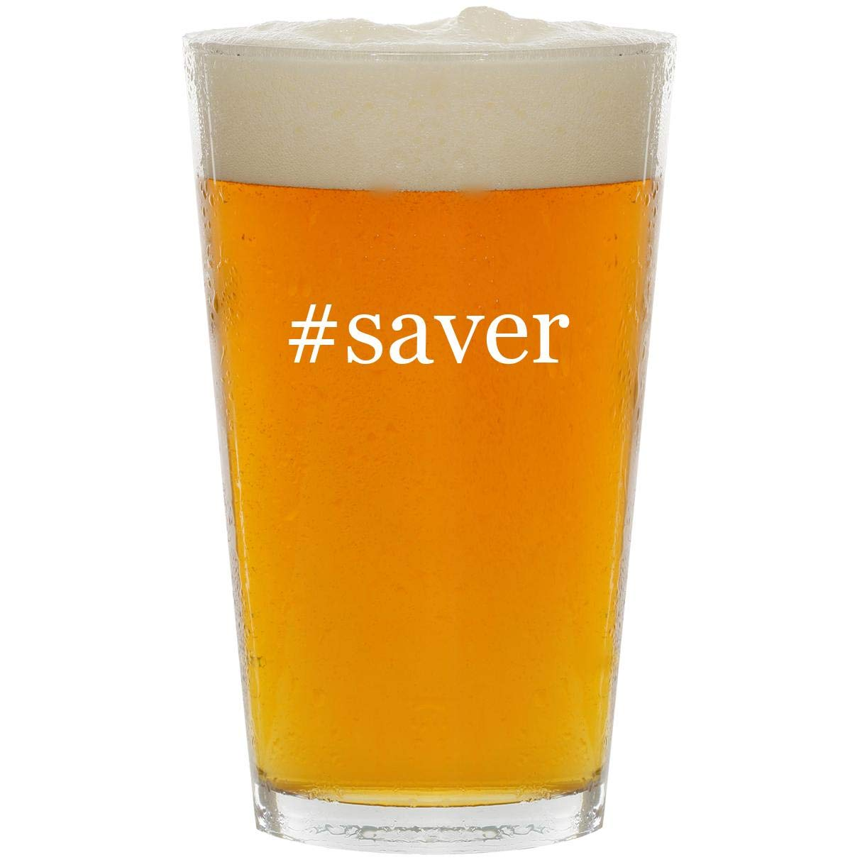 #saver - Glass Hashtag 16oz Beer Pint