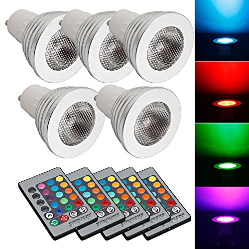 [5 X GU10 5W 85~265V LED RGB Bulb Lamp Light Remote Control Color Changing] (Water Meter Costume)