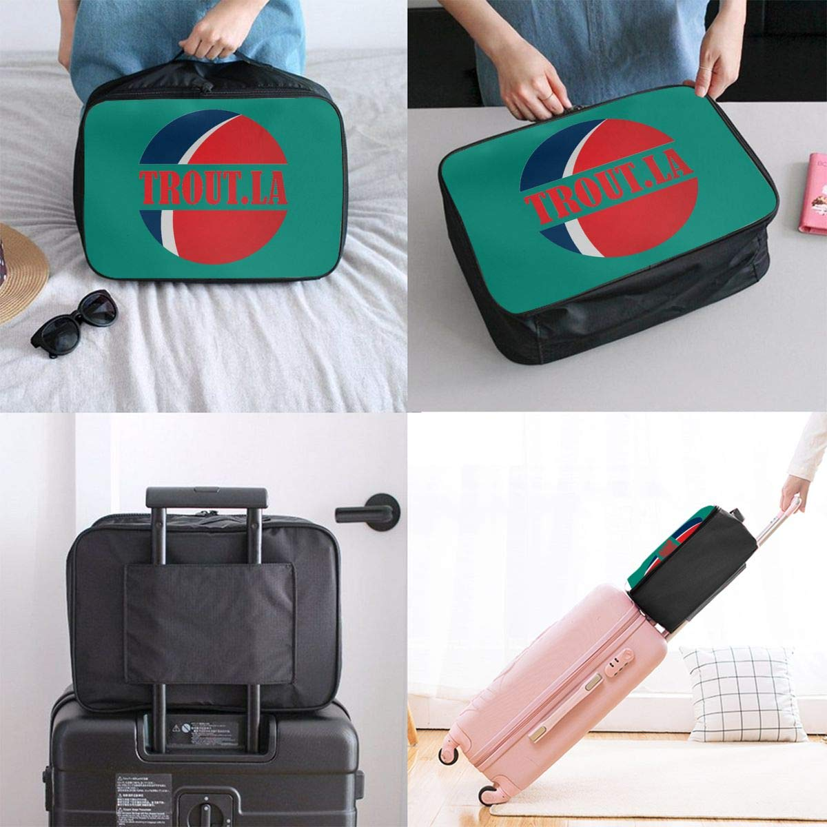 Travel Duffel Bag Waterproof Lightweight Large Capacity Travel Bag Trout La Logo Portable Carry On Luggage Bag For Travel Camping Sport White