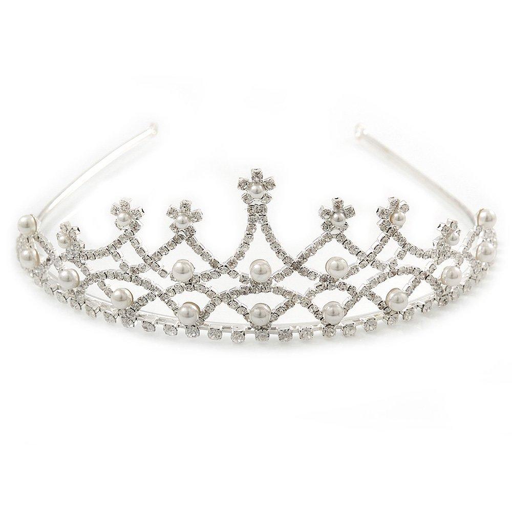 Avalaya Bridal/Wedding/Prom Rhodium Plated Faux Pearl, Austrian Crystal Royal Style Tiara