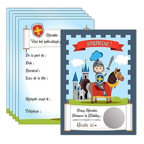 Jeune 6 cartes d'invitation à gratter anniversaire Chevalier Château HB-72