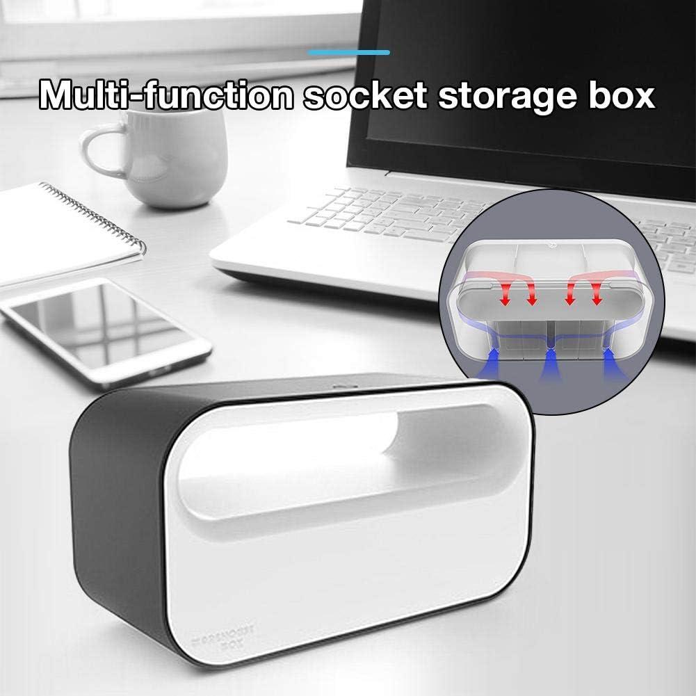 vogueyouth Kabel-Organizer-Box mit LED-Licht Multifunktions-Stecker-Management-Steckdosenleiste Kabel-Box f/ür Handy-Ladeger/ät Home Decoration