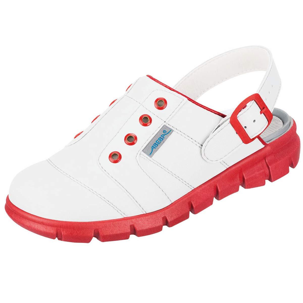 color blanco y rojo Zapatilla deportiva microfibra Abeba Clog 7368 Dynamic