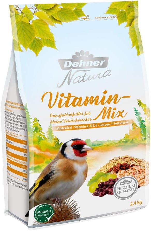 Dehner Premium Natura - Comida para Aves Silvestres, Mezcla de vitaminas, sin cáscara, 2,4 kg