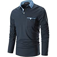 YIPIN Polo Hombre Manga Larga Denim Cuello Camisetas Algodón Camisas T-Shirt Golf Tennis Otoño Invierno Oficina