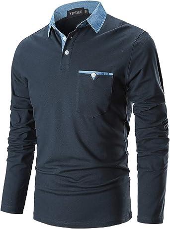 YIPIN Polo Hombre Manga Larga Denim Cuello Camisetas Algodón Camisas T-Shirt Golf Tennis Otoño Invierno Oficina: Amazon.es: Ropa y accesorios