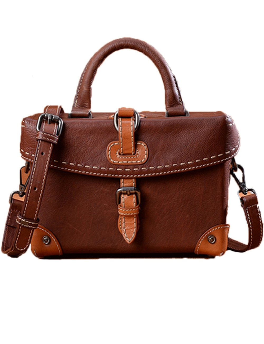 Menschwear Womens Genuine Leather Handmade Crossbody bag(Brown)