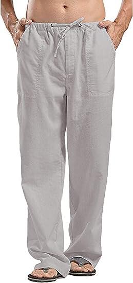 BYWX Men Casual Beach Loose Fit Lightweight Cotton Elastic Waist Pants Trousers
