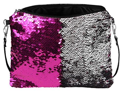 Sonnenscheinschuhe® Handtasche mit Wendepailletten FUCHSIA SILBER 23cm x 20cm Clutch Pailletten Tasche