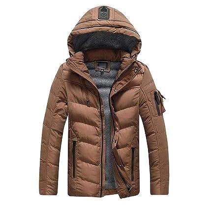 ZHRUI Abrigos para hombre, Invierno Cálido Con capucha Ropa interior gruesa Moda Sólido Manga larga