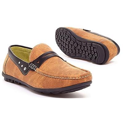 Adolfo Men's Slip-on Demin Loafers Tan