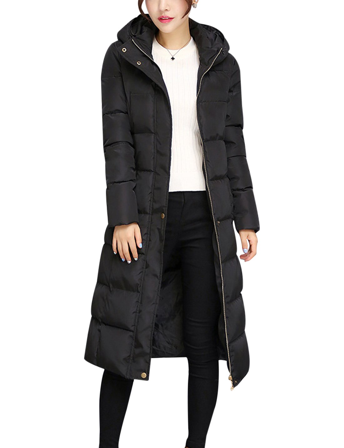 Tanming Women's Winter Cotton Padded Long Coat Outerwear With Fur Trim Hood (Large, Black) by Tanming (Image #3)