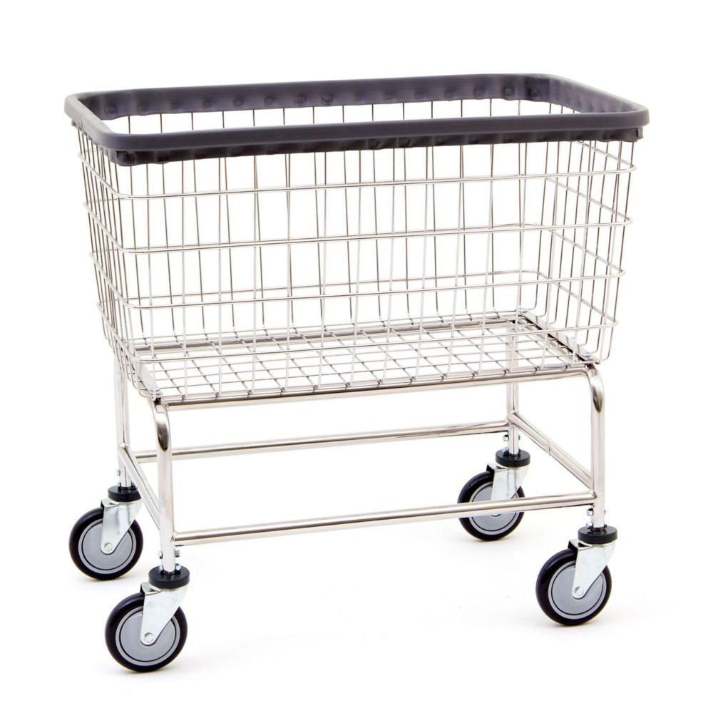 R&B Wire 200F Large Capacity Wire Laundry Cart, 4.5 Bushel, Chrome