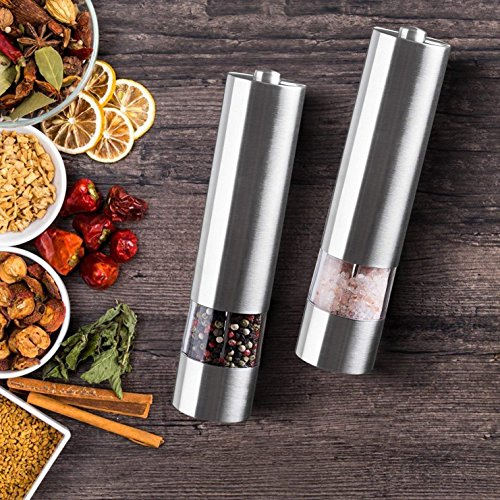 2 Pack Salt and Pepper Grinder with Adjustable Ceramic Rotor Pepper Mill Made of Brushed Stainless Steel Suit Spice Mill Salt and Pepper Shakers 6oz Tall Body by WANGBO (Image #6)