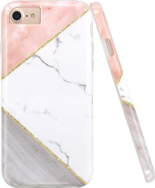 JAHOLAN Coque en silicone TPU souple pour iPhone 7, iPhone 8, iPhone 6, 6S Motif géométrique rose et blanc