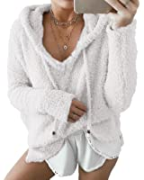 preliked Women Hoodie Sweater Loose Long Sleeve Pullover Fluffy Loose Sweater Tops