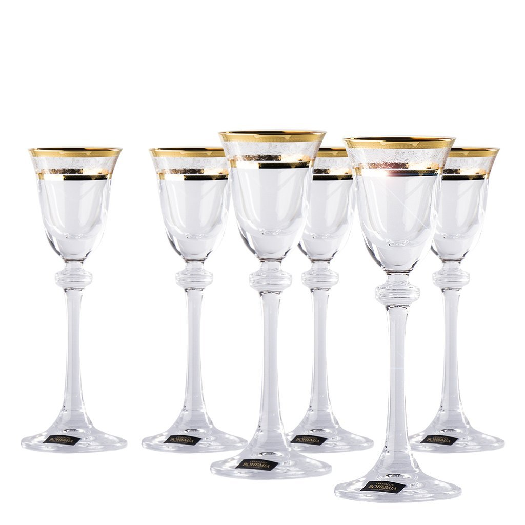 Luxury Crystal Liquor Drinking Glasses Set of 6 Gold Rim Decor, Unique, Hard and Durable  Bohemian Crystal Clear Glass - 2 Ounces, 60 Milliliters