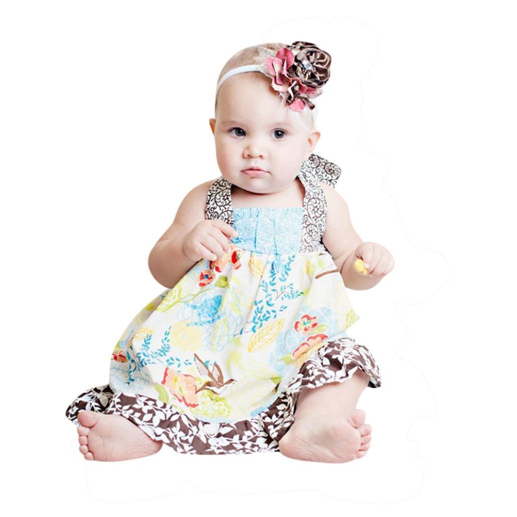 d9f0535bffd Amazon.com  Hatoys Toddler Infant Baby Girls Halter Bandages Floral Print  Sundress Ruffles Dress  Clothing