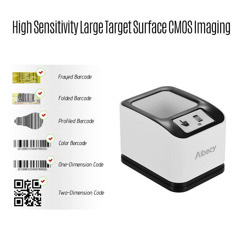 2D QR Barcode Scanner CMOS Bild Desktop Strichcode Leser USB Strichcode-Scanner mit omnidirektionalem Bildschirm Aibecy 2200 1D