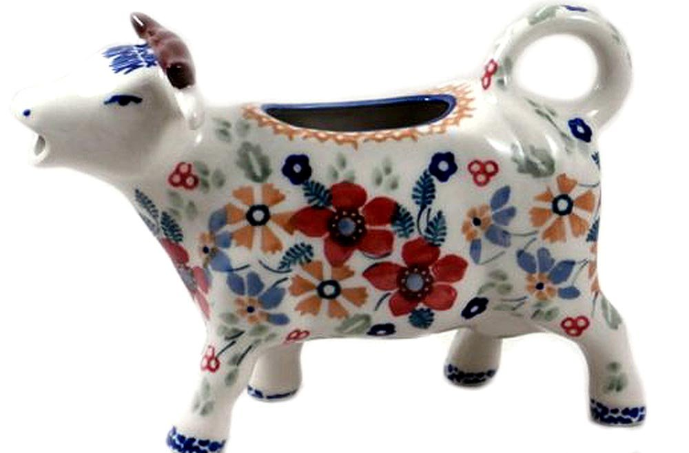 Polish Pottery Cow Pitcher Creamer DPLC Christmas Posies Manufaktura