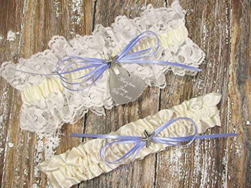 Beach Wedding Garter Set in Ivory Lace with a Silver or Gold Starfish, Custom Color Bow and Personalized Engraving