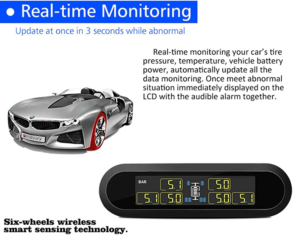 CAREUD T650TJ Paste Type Solar Tire Pressure Monitor Tire Pressure Gauge TPMS