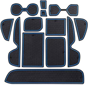 Center Console Premium Cup Holder Door Pocket Inserts 1 set HIGH FLYING for Toyota RAV4 2019 2020 Car Accessories Cup Holder Pads Mat Custom Liner Accessories Black with Blue Only Fit LHD